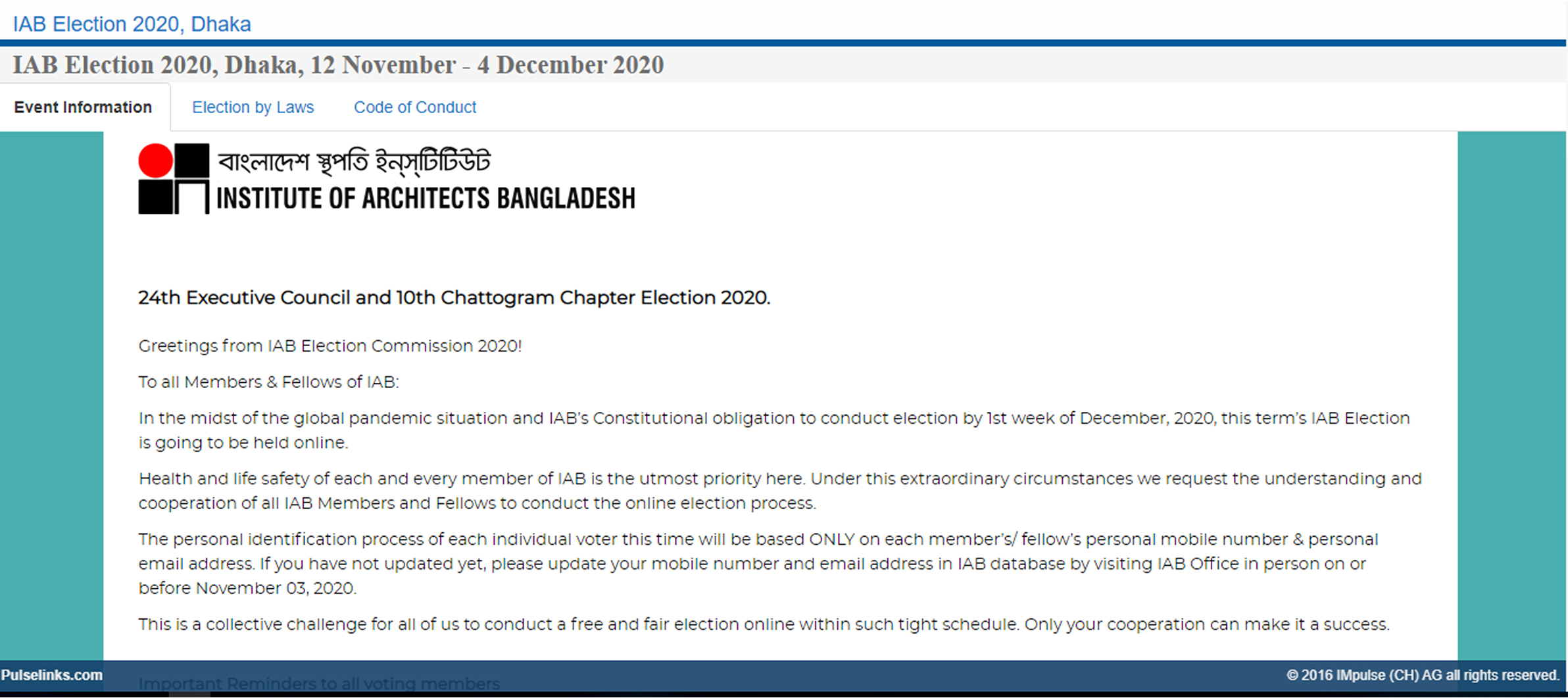 IAB Election 2020 Information Web Link